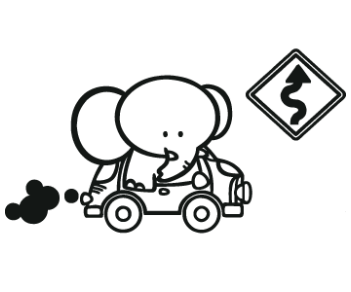 Слоненок за рулем
