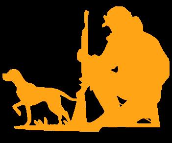 Охотник и собака в засаде
